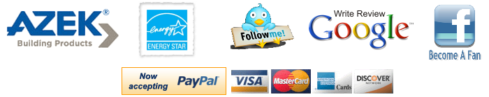 Azik, Energy Star, Twitter, Google, Facebook, Paypal, Visa, MasterCard, Amex and Discover
